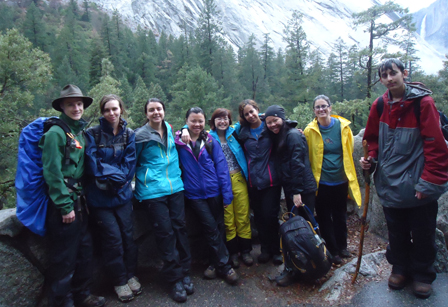 2015 Yosemite hike to Vernal group photo from Thuy Tien Nguyen: group on a Yosemite trail with Nevada Fall in background
