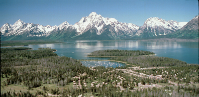 Colter Bay: aerial photo of Colter Bay with Teton range in background