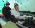 Alex gives Alanna a backrub 120 pixels: backrub in a tent
