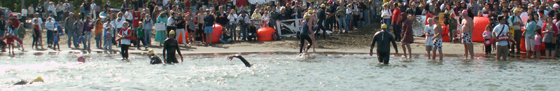 Eric Hall, Caitlin Hipskind and Brian Pham guarding at finish line 2007 Sharkfest: