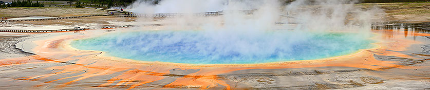 Grand Prismatic Spring by Ron Niebrugge: a steaming blue Grand Prismatic Spring, photo used with permission from the photographer Ron Niebrugge