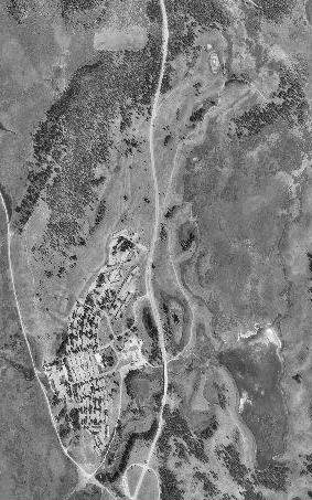 Grand Teton Lodge Christian Pond blk wht aerial: