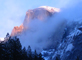 Half Dome from near campsite winter 2011 60 pixels: Half Dome, alpenglow and low clouds