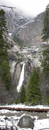 John Muir cabin site and lower Yosemite Fall:
