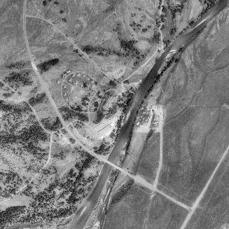Moose Wyoming blckwhit aerial: