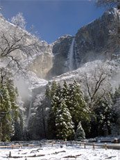 NPS april 9 2005 snow and Yosemite Falls:
