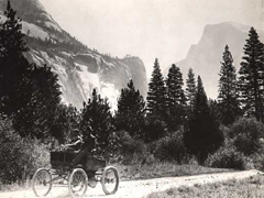 NPS historic photo Stanley Steamer and Half Dome: