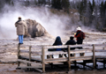 NPS man on barrier Yellowstone 120pxls: