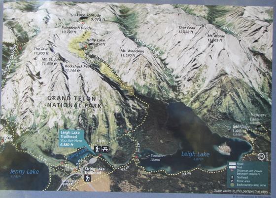 NPS string leigh lake trailhead photo map: a photo/map at the trailhead for a hike showing trails, lakes, mountains