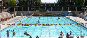 Olympic sized pool with kayaks from above: