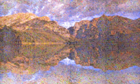 Phelps lake photo collage: hundreds of small photos together to look like a lake
