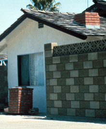 toppled brick chimney USGS photo: