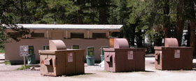 Yosemite restroom and recycling bins: