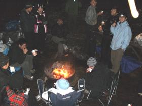 around the evening campfire winter Yosemite 2013: people sitting around the evening campfire winter Yosemite 2013