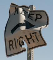 bent sign keep right: