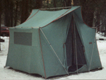 big green box-shaped tent: