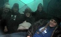 2014 winter trip five girls in tent: five girls in a dark tent