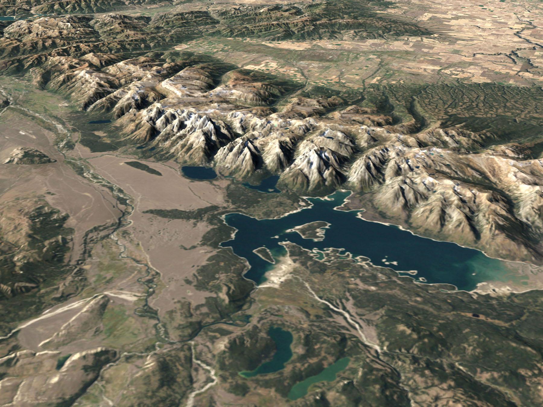 landsat_grand_teton NASA photo: NASA visualization of the Teton range and surrounding lakes