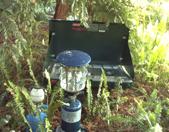 lanterns and stove: