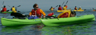 lifeguard Shannon Mathey assists a kayaker: lifeguard sitting in a kayak assists a kayaker trying to climb back into the kayak he fell out of