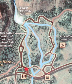 lower Yosemite Fall walkway map: