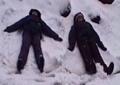making snow angels:
