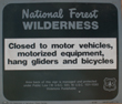 natl forest prohibitions sign: