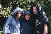 rain gear: models show real rain jackets and plastic garbage bag gear