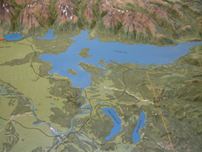 raised relief map of all of Jackson Lake: