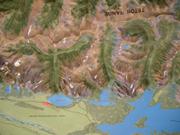relief map of Taggart Lake to Jackson Lake: