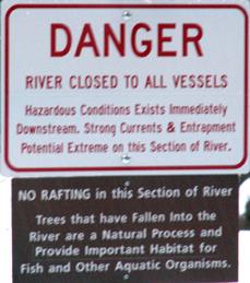 sign river closed Yosemite: