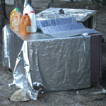 silver draping over bear box: