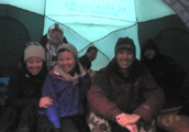 six in tent Yosemite winter 2014 120 pixels: six people in a dark tent