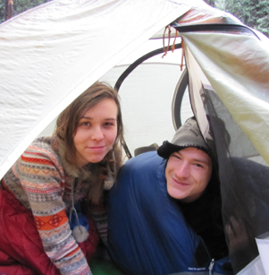 snow camp 2015 taylor and ethan: two sleepy people in a tent