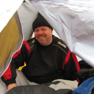 snow camp 2015 trevor: man in a tent