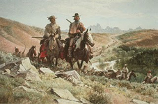 sublette and campbell painting nps photo: painting of two riders on horseback