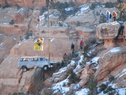 van recovered by crane NPS photo: NPS photo of a van being recovered from a caonyon by a crane