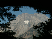 view of Mount Moran through front tent door at Leigh Lake backcountry campsite: