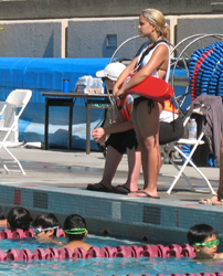 Emily May guarding Kid's triathlon: Emily May guarding Kid's triathlon photo by Alan Ahlstrand, Red Cross Lifeguard Instructor and Volunteer of Record for De Anza College
