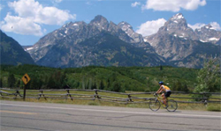 NPS photo cyclist on teton road: