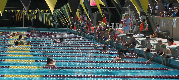SVKTswimmers 6 & under and lifeguards 2010: 6 years old & under swimmers at triathlon getting into pool as and lifeguards wait in the water photo by Alan Ahlstrand