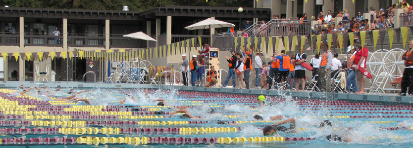 Silicon Valley Kids Triathlon 2011 start: one wave of swimmers in the pool, volunteers at pool edge and the next wave of swimmers waiting in the bleachers