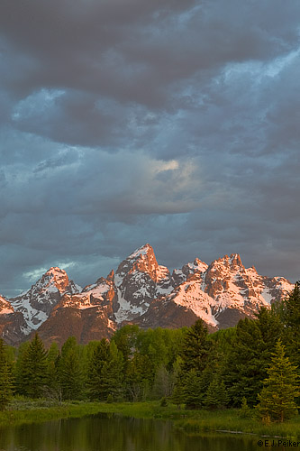 WY_SchwabacherLanding12 copyright EJ Peiker: mountain peak with dark clouds above