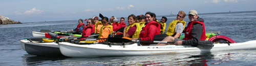 Outdoor Club group on water from end ocean kayak may 2005: