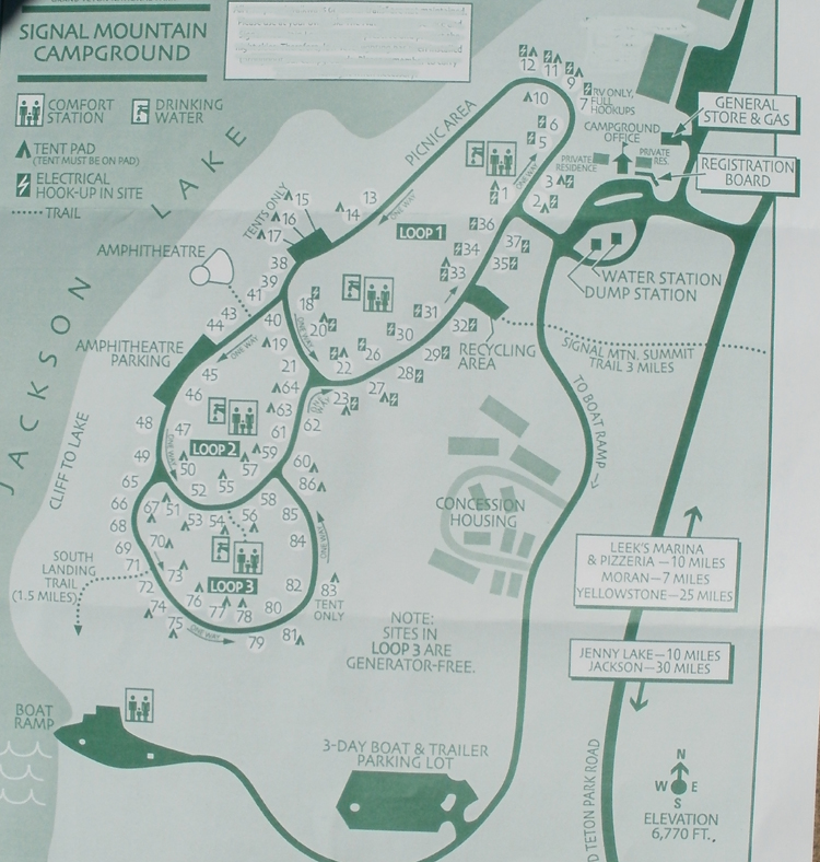 map of signal mountain campground, Grand Teton National Park.: map with roads and campsites