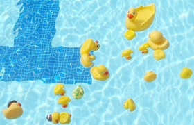 not all rubber duckies float upright.: rubber duckies floating in pool, some upright, some upside down