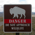 sign danger do not approach wildlife: