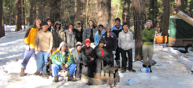 snow group 2010 800 pixels: campers pose for a group photo in a snowy Yosemite campground