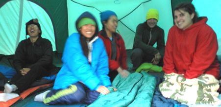 tent mates Leigh lake 2011: slightly out of focus photo of smiling people in a tent