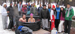 group photo in snowy campground 2017 Yosemite trip with a hot tub